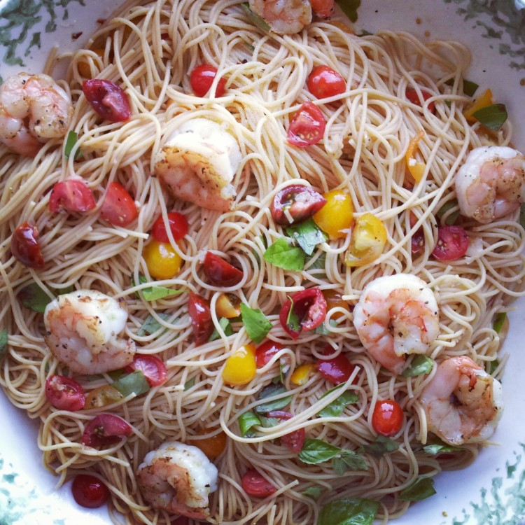 Summer Spaghetti with Shrimp