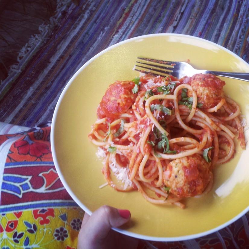 Spaghetti with Marinara & Turkey and Zucchini Meatballs