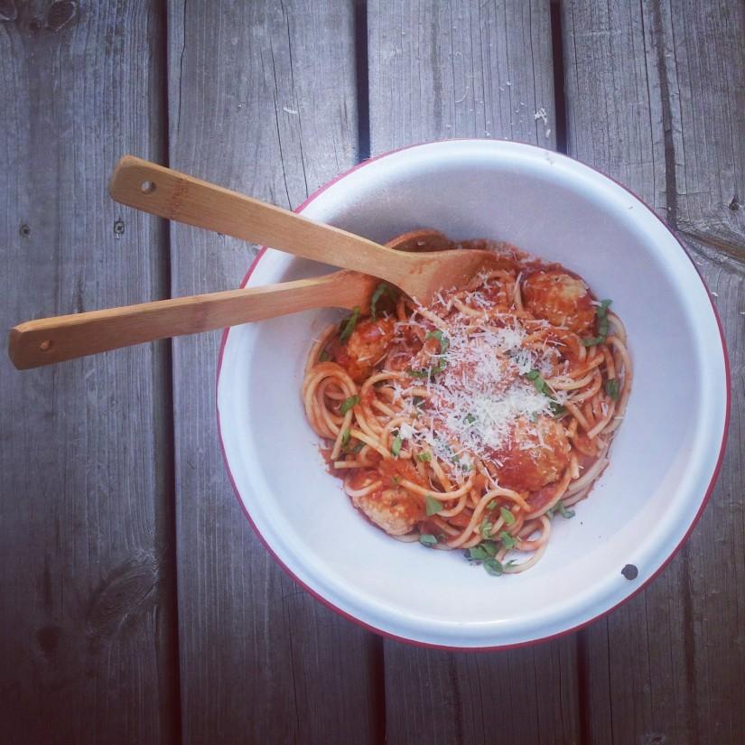 Spaghetti with Marinara Suace & Turkey and Zucchini Meatballs