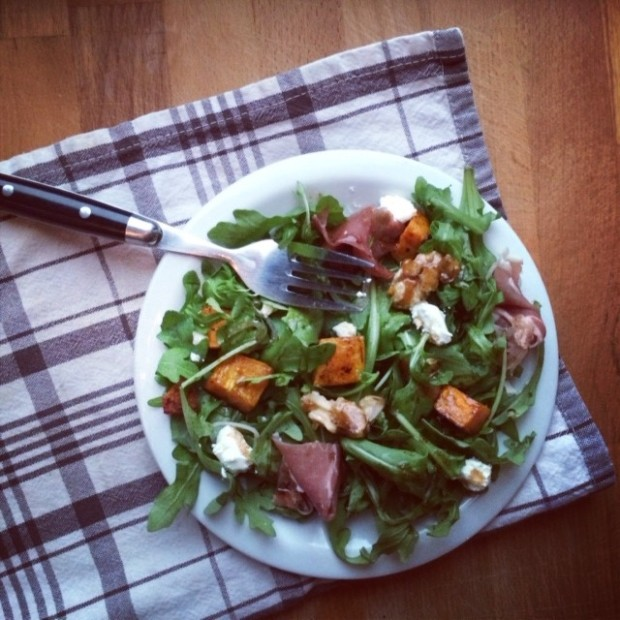 Arugula Salad with Butternut Squash, Prosciutto, and Goat Cheese