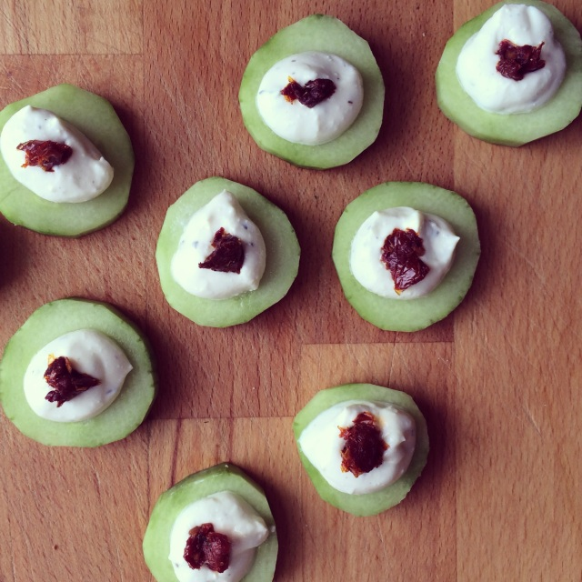 Cucumber, Whipped Feta, and Sun-Dried Tomato Bites