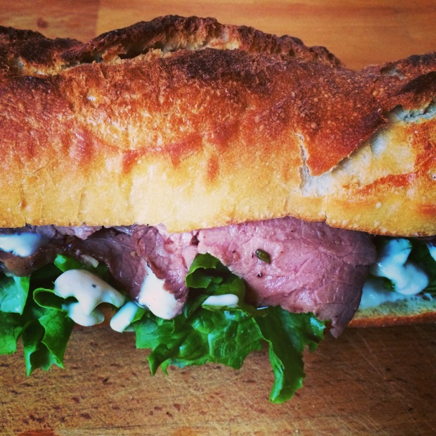 Rosemary and Garlic Roast Beef Sandwich with Horseradish Cream Sauce