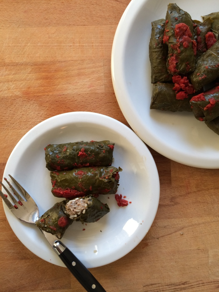 Lebanese Meat Stuffed Grape Leaves