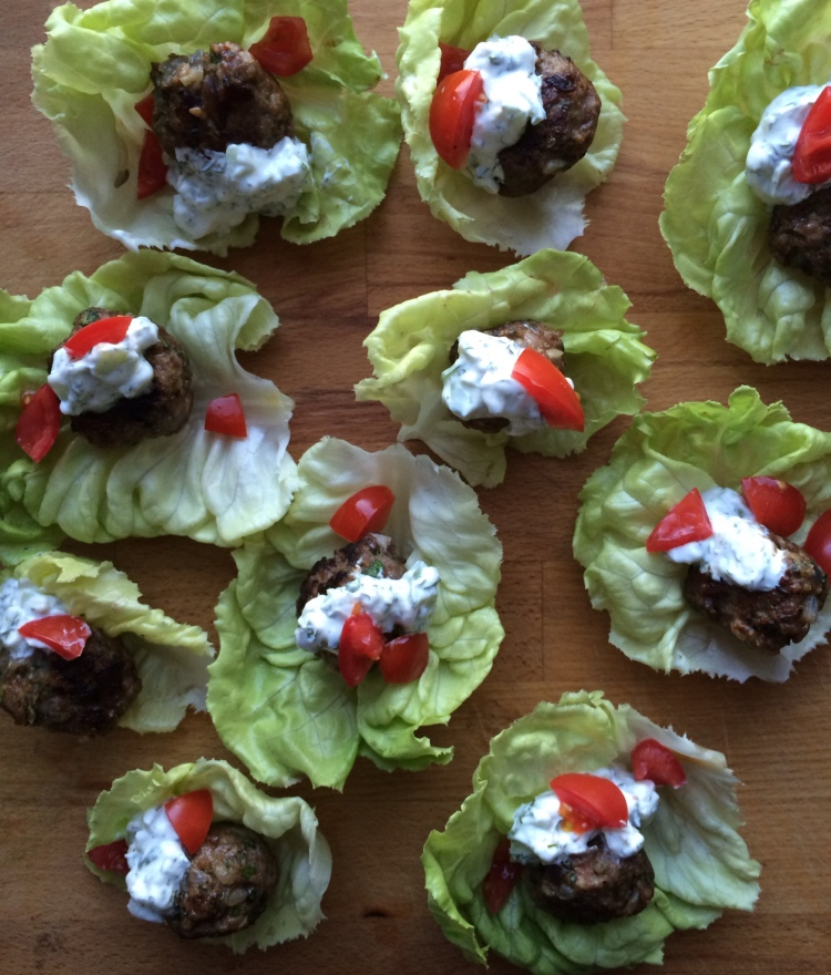 Lamb Meatball Lettuce Cups with Tzatziki Sauce