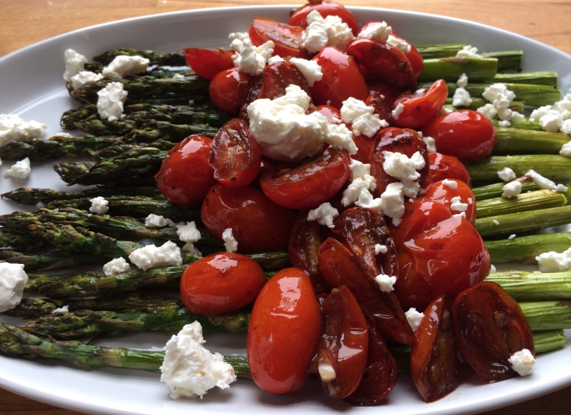 Roasted Asparagus with Balsamic Tomatoes and Feta