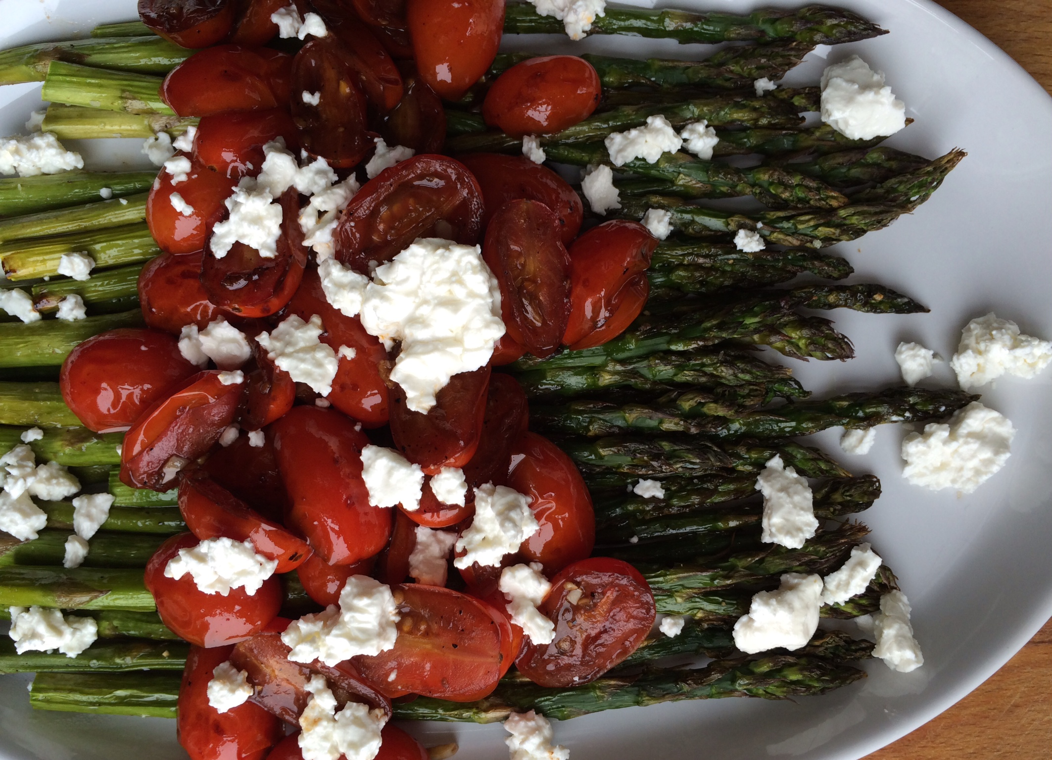 Roasted Asparagus with Balsamic Tomatoes and Feta | Emily Always Cooks