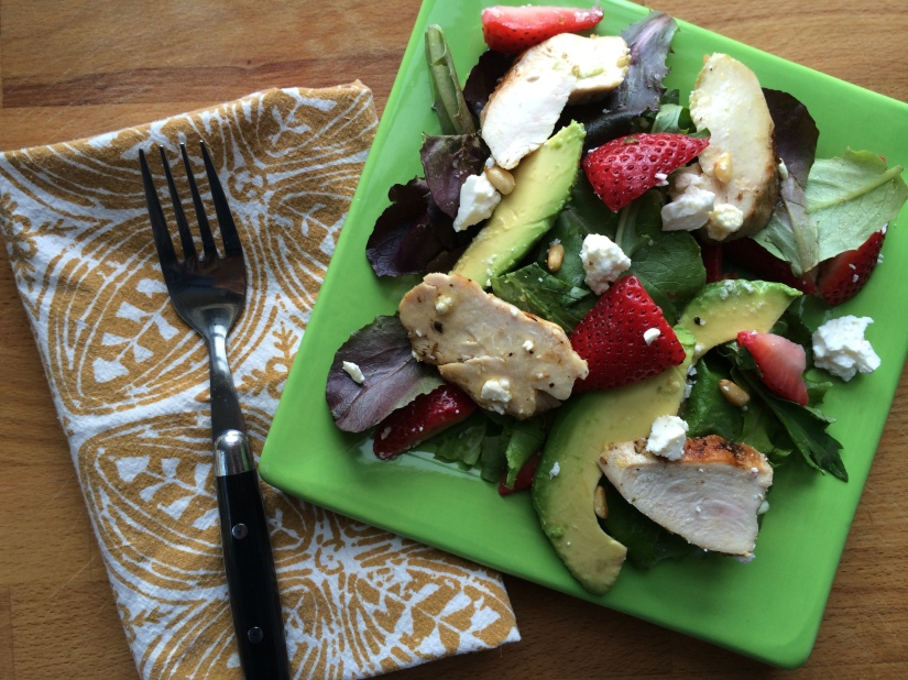 Spring Greens with Grilled Chicken, Strawberries, Avocado, and Feta