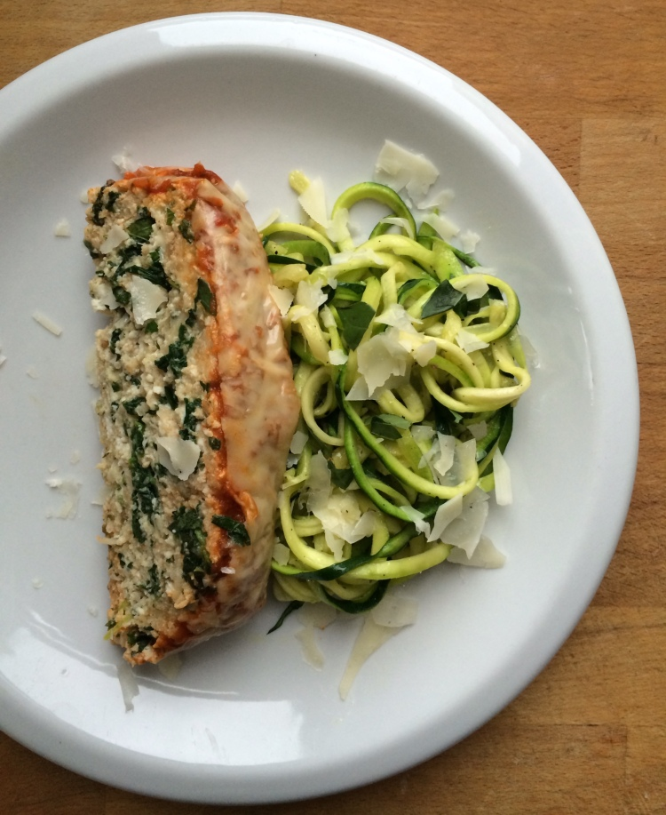 Spinach and Ricotta Meatloaf with Zucchini Noodles (Zoodles)
