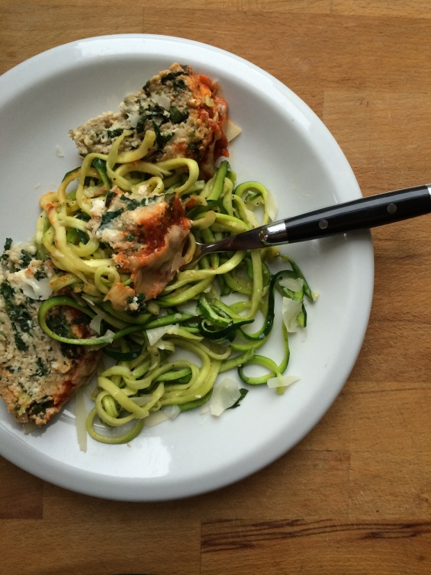 Spinach and Ricotta Turkey Meatloaf with Zucchini Noodles (Zoodles)