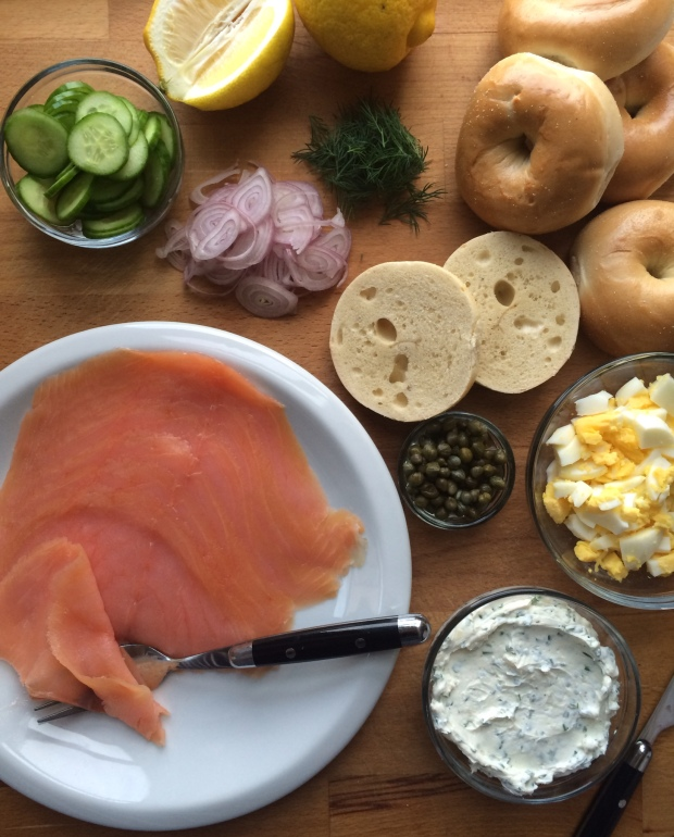 The Ultimate Bagel with Smoked Salmon and all the Fixings