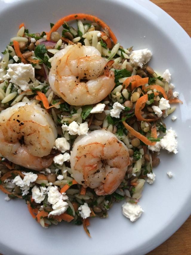Lentil Orzo Salad with Shrimp and Feta
