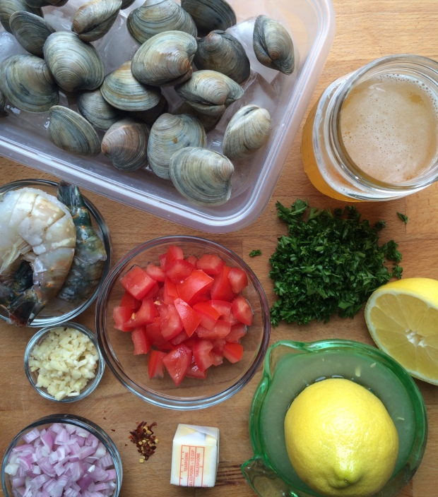 Steamed Clams and Shrimp in Beer Broth