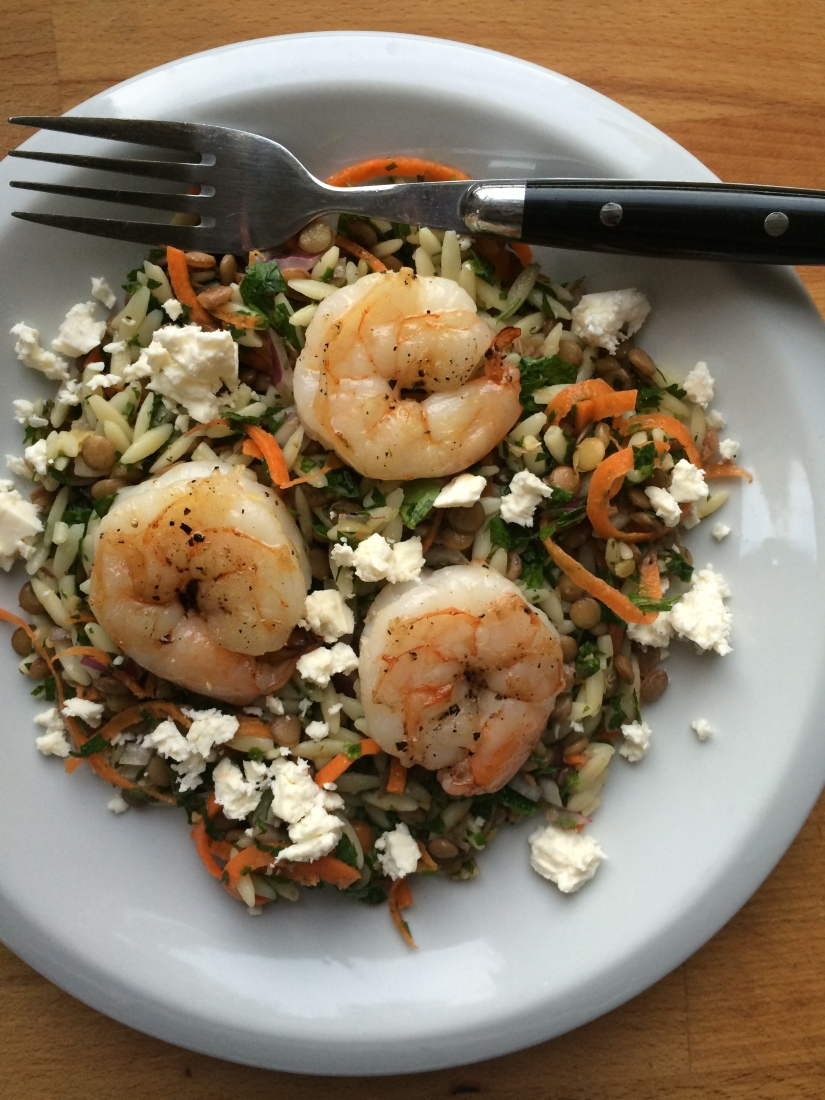 Lentil Orzo Salad with Shrimp and Feta
