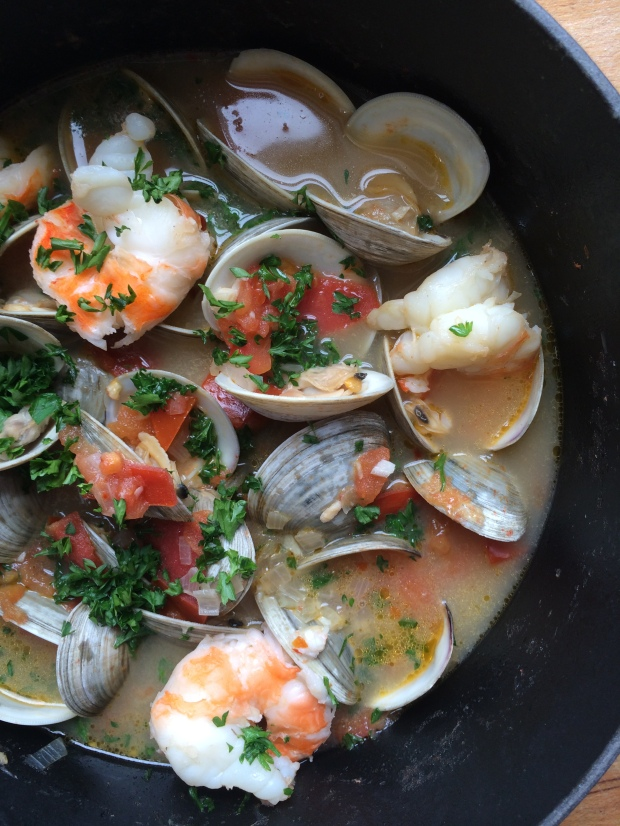 Steamed Clams and Shrimp in Beer Infused Broth – Emily Always Cooks