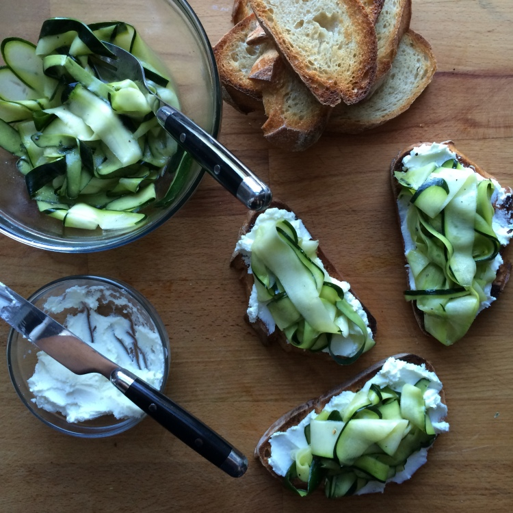 Zucchini Ribbon and Goat Cheese Bruschetta