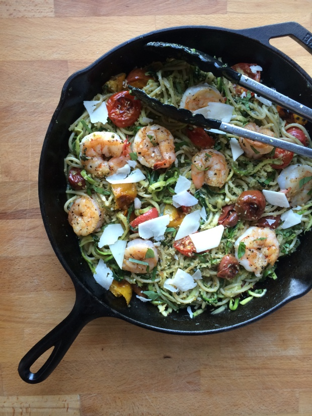 Pesto Zucchini Noodles and Spaghetti with Roasted Tomatoes, Garlic and Shrimp
