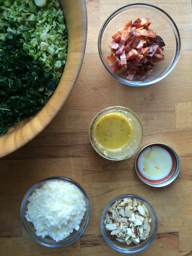 Kale and Brussels Sprout Salad with Bacon, Almonds, and Pecorino