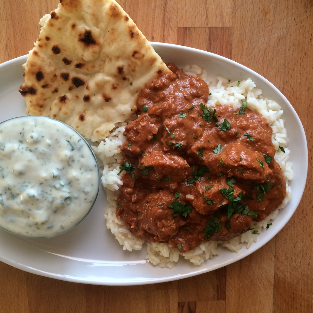 Crock Pot Chicken Tikka Masala and Cilantro Yogurt Sauce