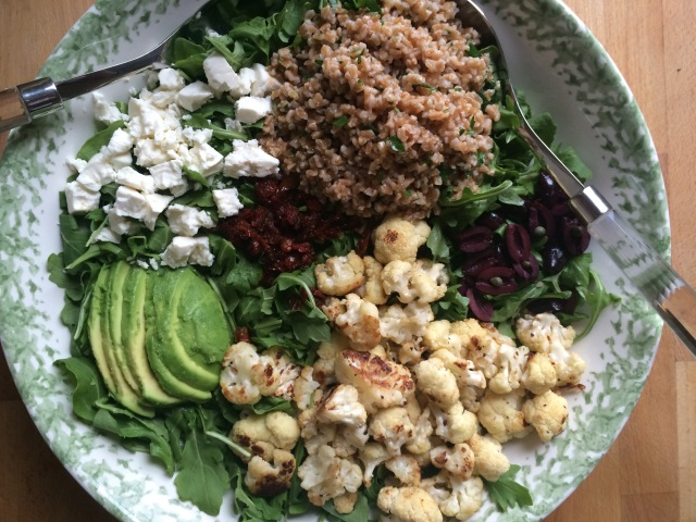 Arugula and Cauliflower Salad with Farro, Feta and Avocado