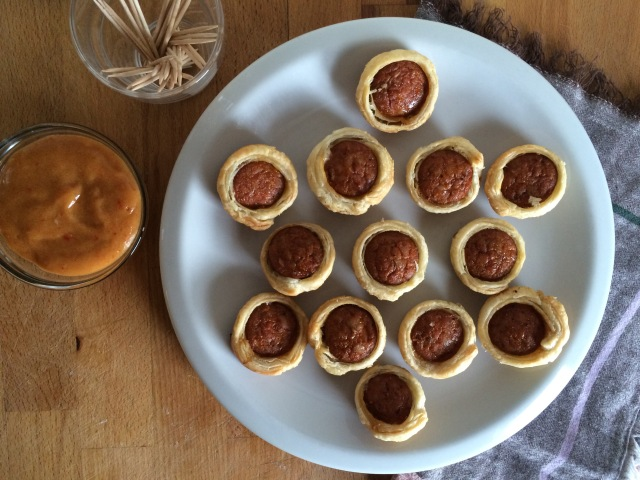 Andouille Pigs in a Blanket with Chutney Mustard Dipping Sauce