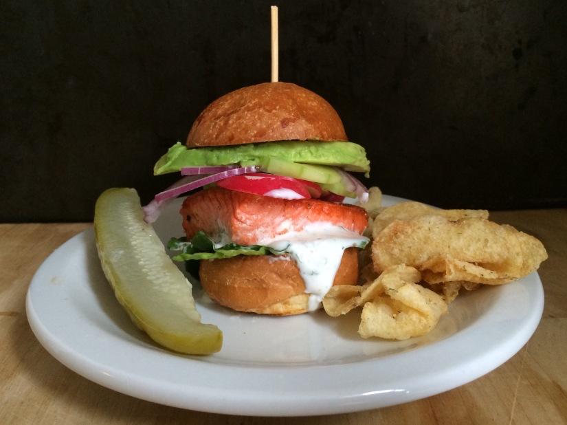 Salmon Slider with Dill and Caper Yogurt Sauce