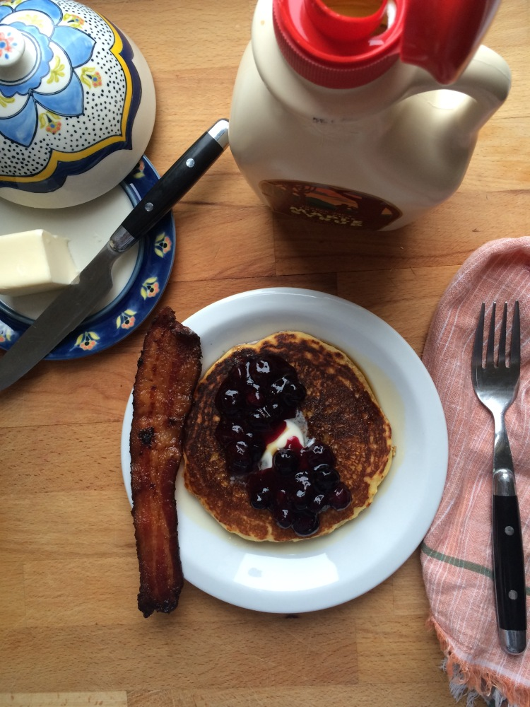 Cornmeal Pancakes with Blueberry Compote