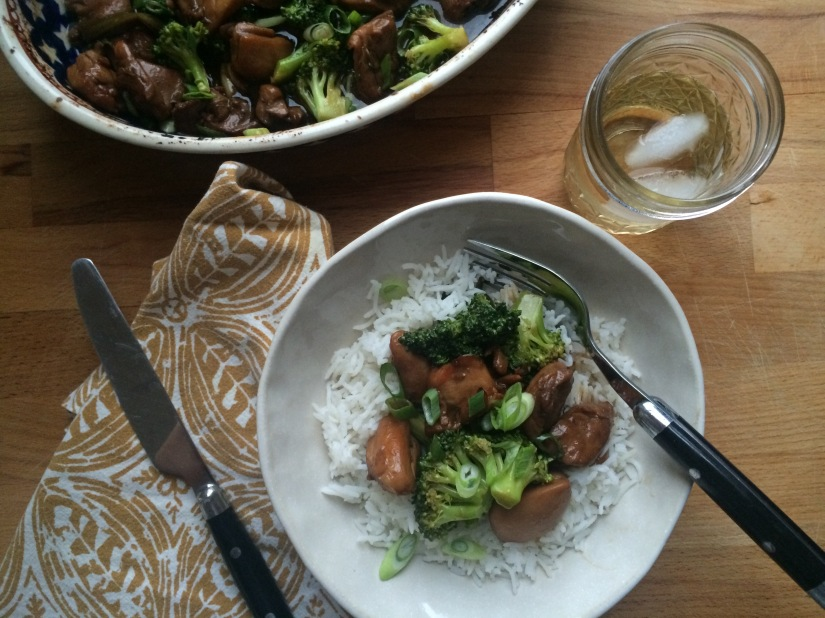 Sticky Bourbon Chicken and Broccoli