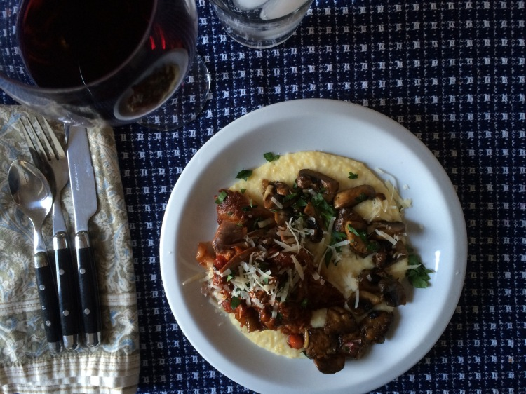 Lamb Shanks with Parmesan Polenta and Mushrooms