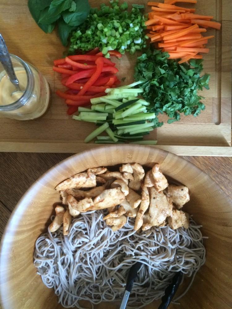 Sesame-Ginger Soba Noodle Salad with Chicken