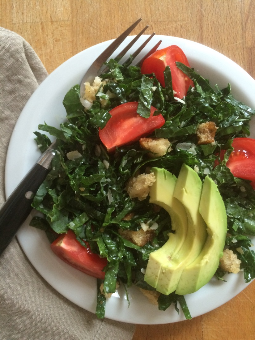 Kale Salad with Breadcrumb Croutons