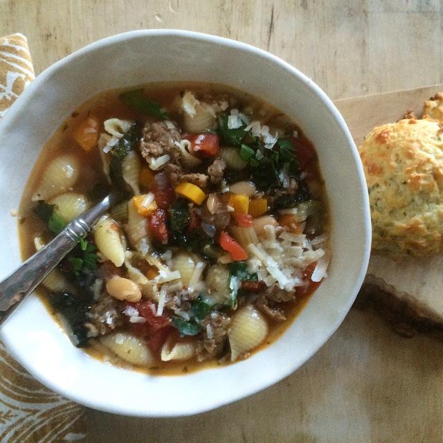 Italian Sausage, White Bean and Kale Soup