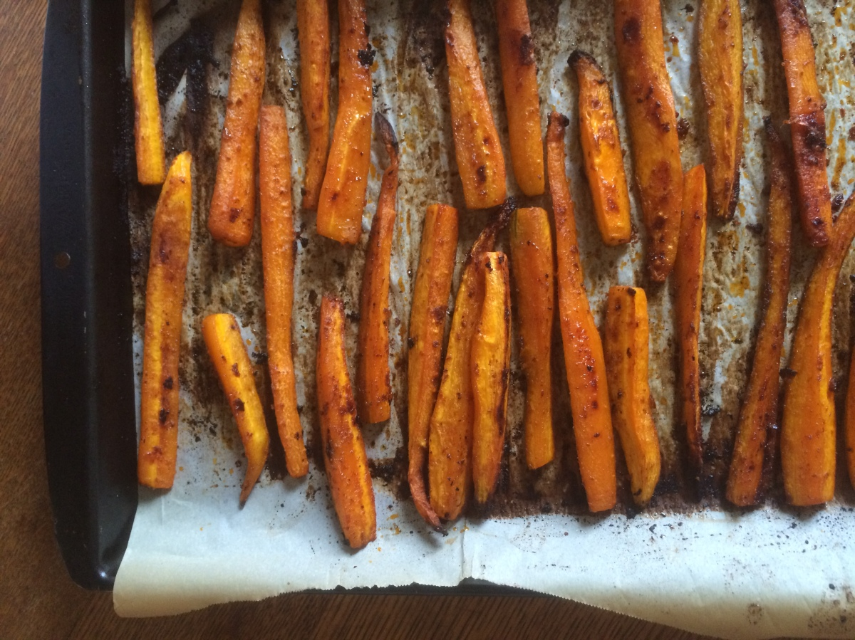 Maple and Harissa Roasted Carrots